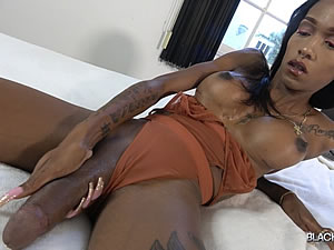Bigcock black Tgirl masturbates on camera