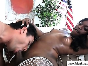 Ebony shemale getting her dick sucked in high def