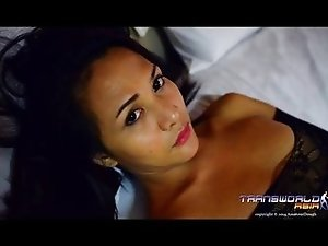 Sexy Asian shemale Pameal stroking her cock